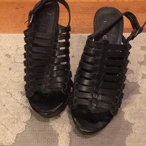 Franco Sarto real leather cage heels